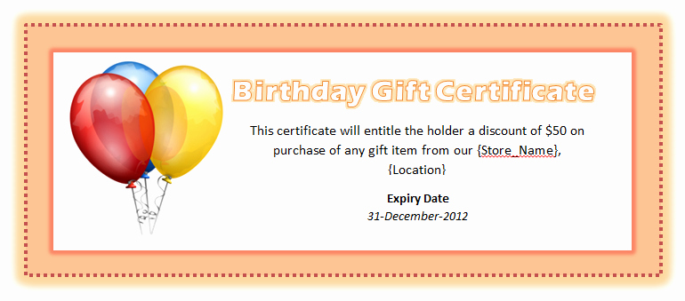 Birthday Gift Certificate Template Free Inspirational Birthday Voucher Template Microsoft Word Templates