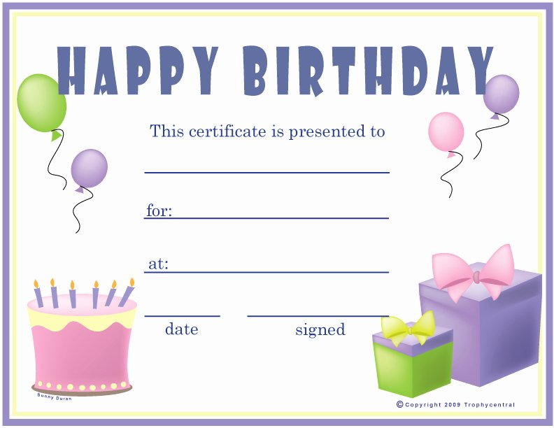 Birthday Gift Certificate Template Free Lovely 10 Best Of Happy Birthday Printable Gift
