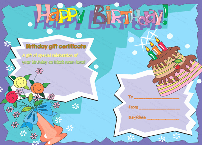 Birthday Gift Certificate Template Free Lovely Birthday Gift Certificate Templates Certificate Templates