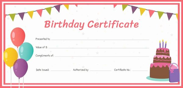 Birthday Gift Certificate Template Free Luxury Birthday Gift Certificate Templates 16 Free Word Pdf