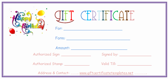 Birthday Gift Certificate Template Free Luxury Simple Balloons Birthday T Certificate Template