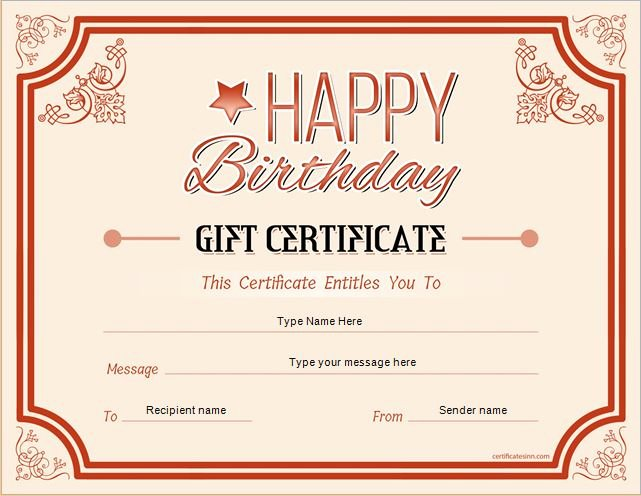 Birthday Gift Certificate Template Free New Birthday Gift Certificate Sample Templates for Word