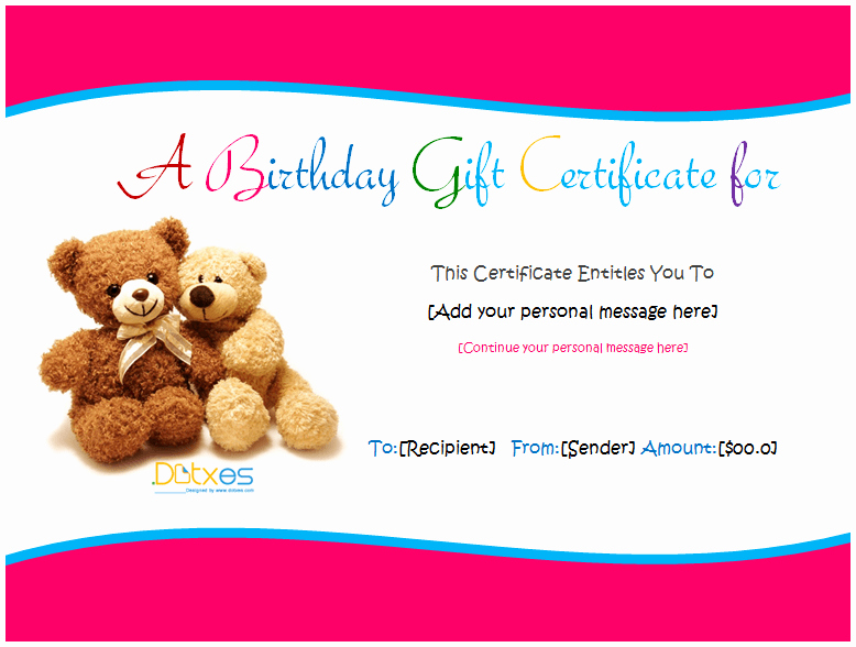 Birthday Gift Certificate Template Free New Birthday Gift Certificate Templates for Girls and Boys