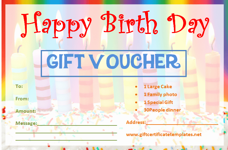 Birthday Gift Certificate Template Free New Candle Birthday Gift Certificate Template Gift Certificates