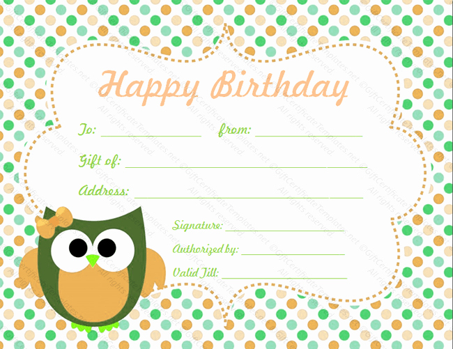 Birthday Gift Certificate Template Free New Circle Birthday Gift Certificate Template Gift Certificates