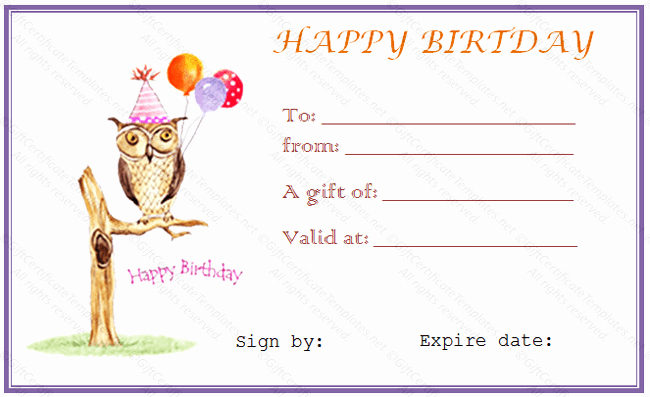 Birthday Gift Certificate Template Free New Owl Birthday Gift Certificate Template Gift Certificates
