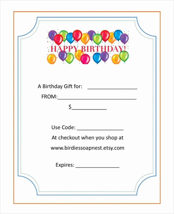 Birthday Gift Certificate Template Free Unique 8 Birthday Gift Certificate Templates