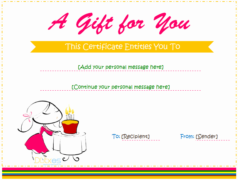 Birthday Gift Certificate Template Free Unique Birthday Gift Certificate Templates for Girls and Boys