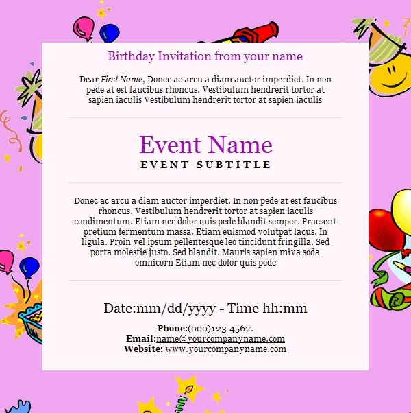 Birthday Invitation Email Template Fresh Birthday Invitation Email Template 23 Free Psd Eps