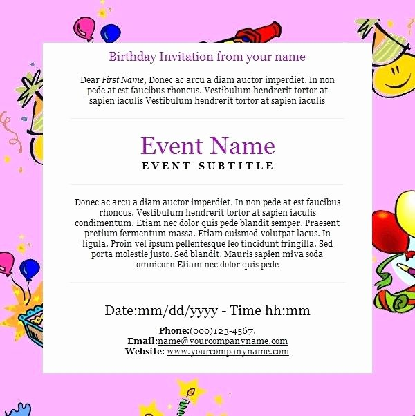 Birthday Invitation Email Template Inspirational Birthday Invitation Templates Email Invitations with