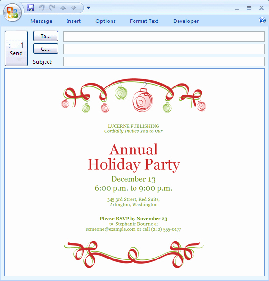 Birthday Invitation Email Template Inspirational Email Holiday Party Invitations Ideas Noel