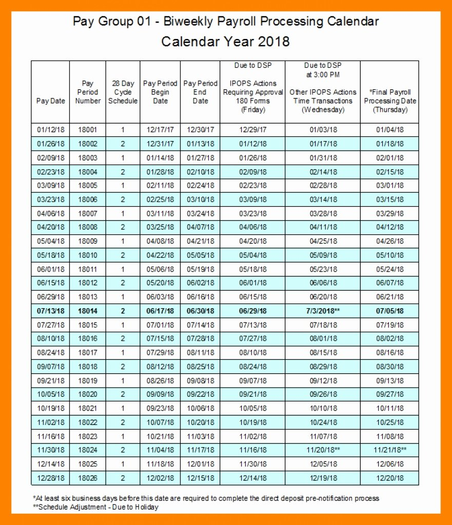 Biweekly Pay Schedule Template Awesome 2018 Biweekly Payroll Calendar Template