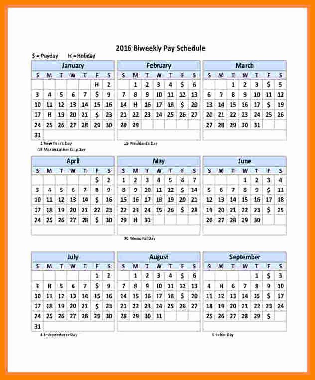 Biweekly Pay Schedule Template Beautiful 12 2018 Biweekly Payroll Calendar