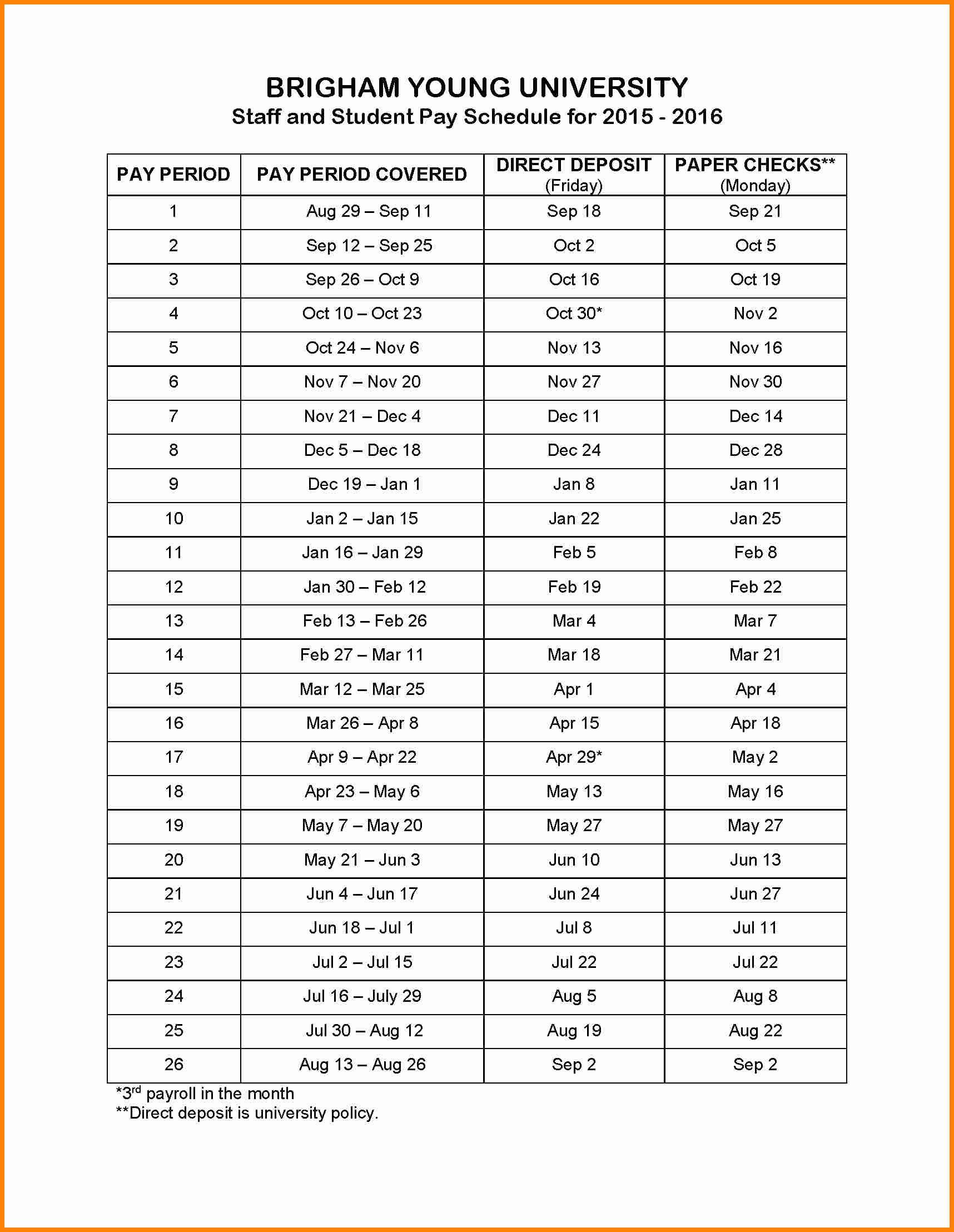 Biweekly Pay Schedule Template Elegant 7 Biweekly Payroll Calendar 2015 Template