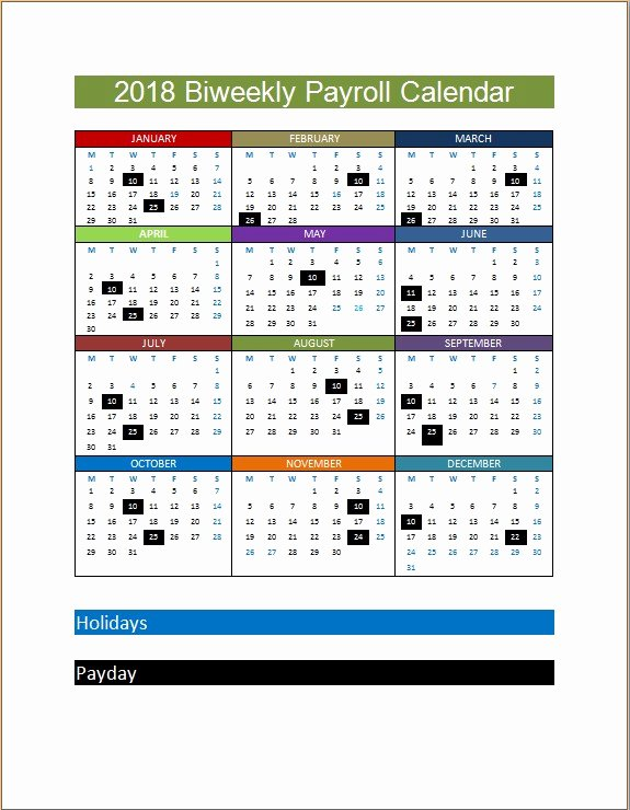 Biweekly Pay Schedule Template Fresh 2018 Biweekly Payroll Calendar Template
