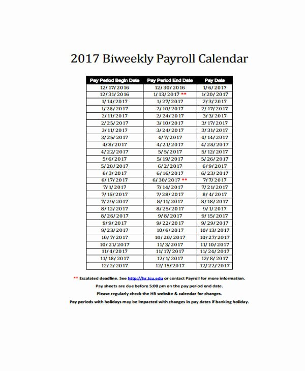 Biweekly Pay Schedule Template Inspirational 7 Payroll Calendar Templates Sample Example