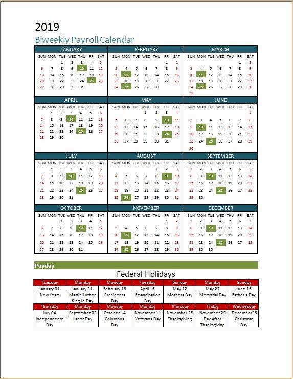 Biweekly Pay Schedule Template Lovely 2018 Biweekly Payroll Calendar Template