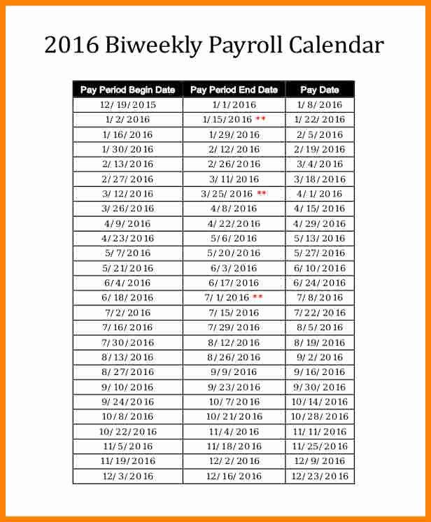 Biweekly Pay Schedule Template Luxury 8 Payroll Calendar Template 2016