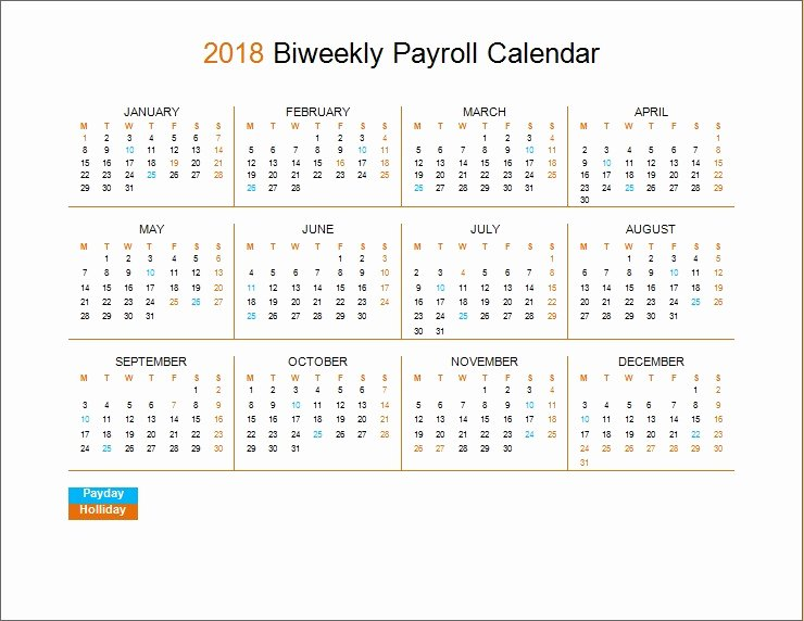 Biweekly Pay Schedule Template New 2018 Biweekly Payroll Calendar Template
