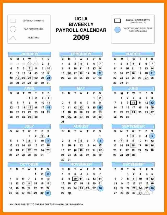 Biweekly Pay Schedule Template New 6 Biweekly Payroll Calendar Template
