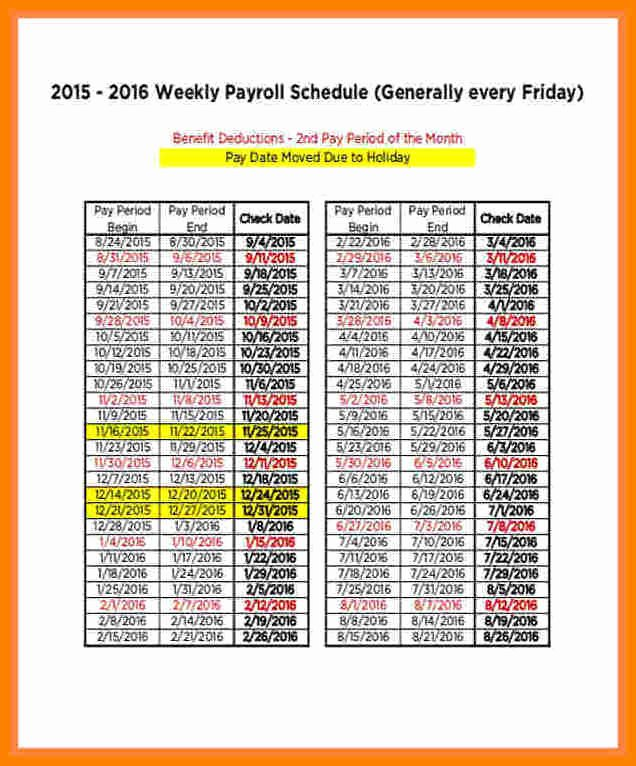 Biweekly Pay Schedule Template Unique 14 Securitas Pay Calendar 2018