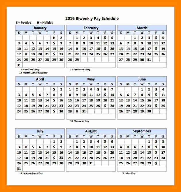 Biweekly Payroll Calendar Template 2017 Awesome 6 2018 Biweekly Payroll Calendar Template