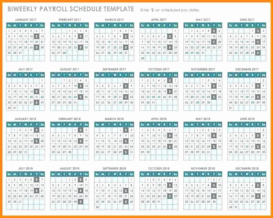Biweekly Payroll Calendar Template 2017 Awesome Bi Monthly Calendar Template Payroll Biweekly Schedule