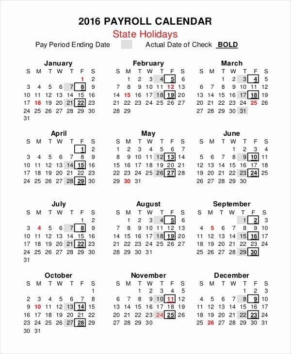 Biweekly Payroll Calendar Template 2017 Inspirational 2018 Biweekly Pay Calendar Template Free Calendar Template