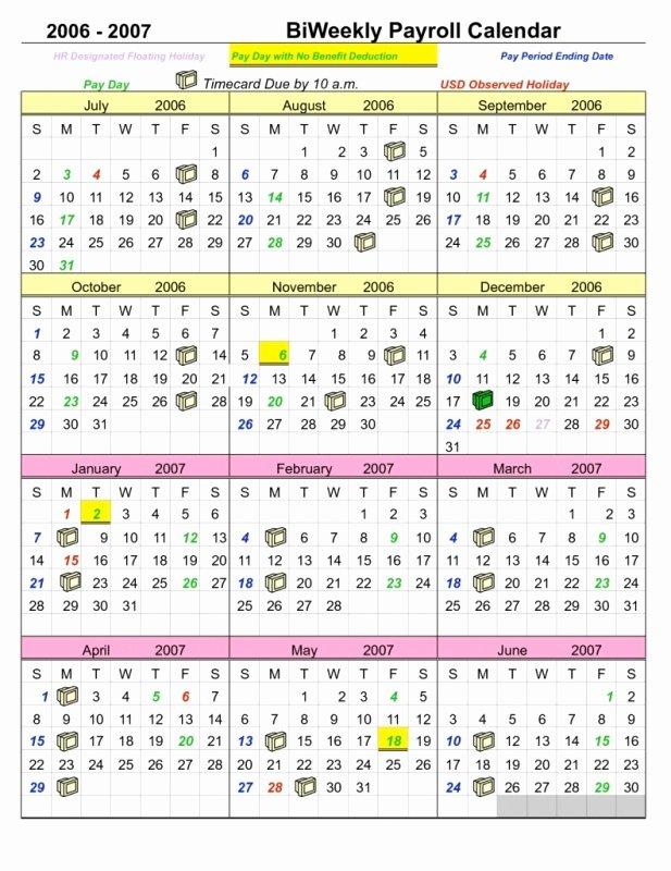 Biweekly Payroll Calendar Template 2017 Inspirational Semi Monthly Payroll Calendar Template Free Calendar