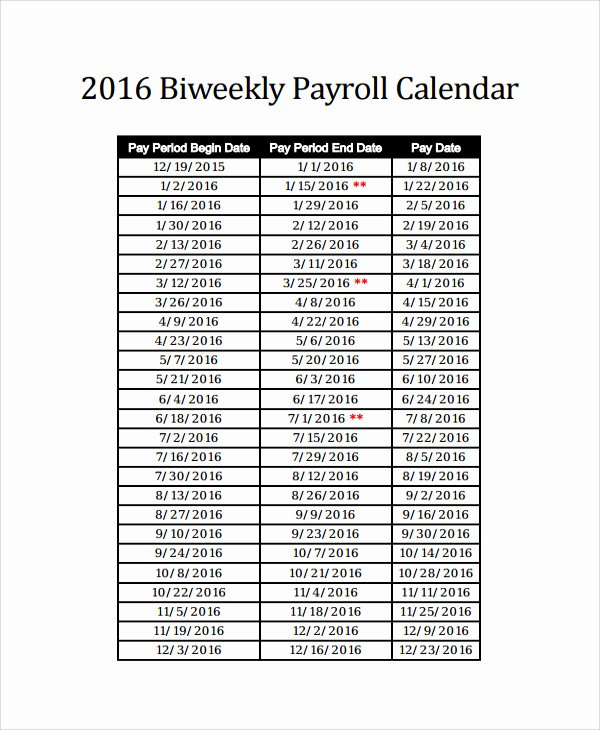 Biweekly Payroll Calendar Template 2017 Lovely 2016 Bi Weekly Payroll Calendar Samples