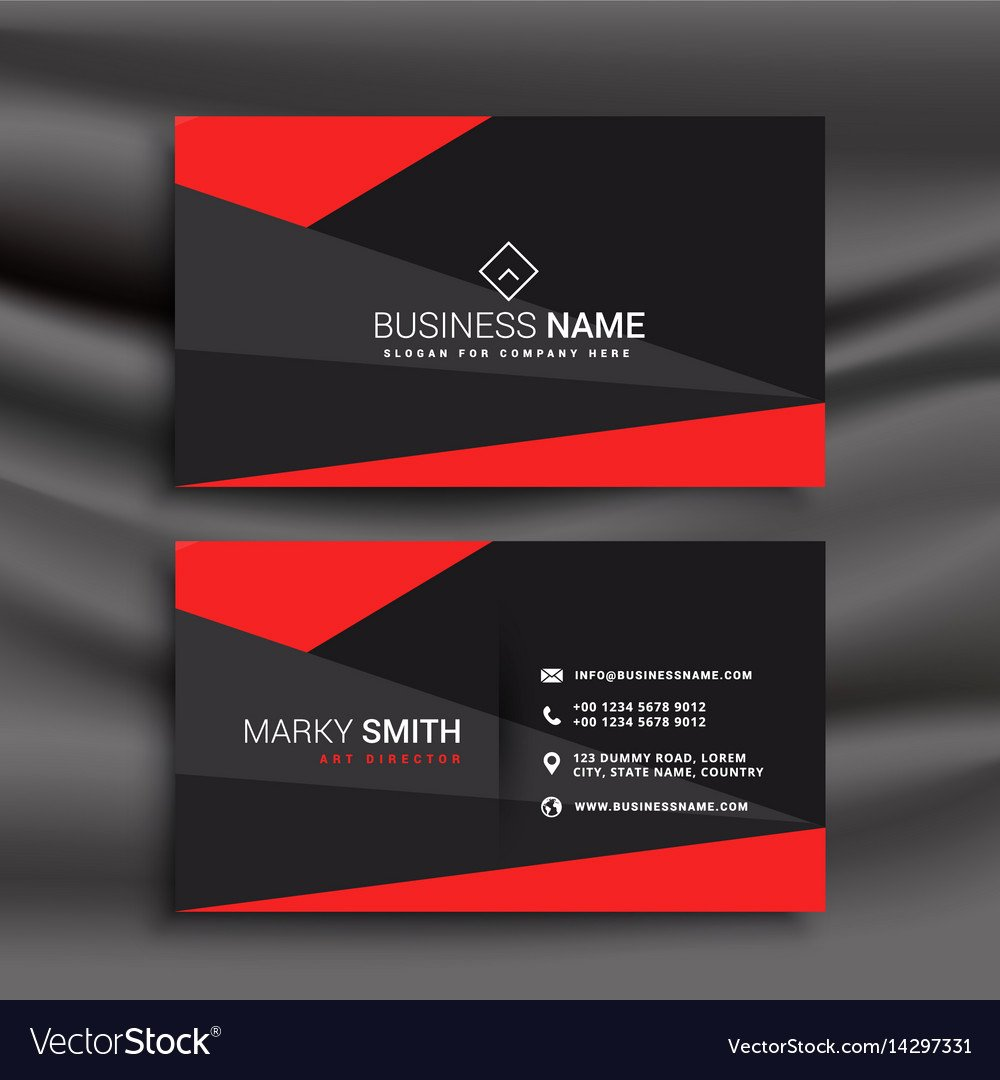 Black Business Card Template Best Of Black and Red Business Card Template with Vector Image