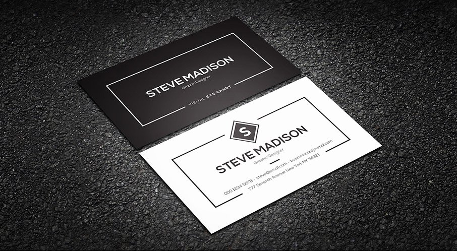 Black Business Card Template New Free Minimal Black & White Individual Business Card Template