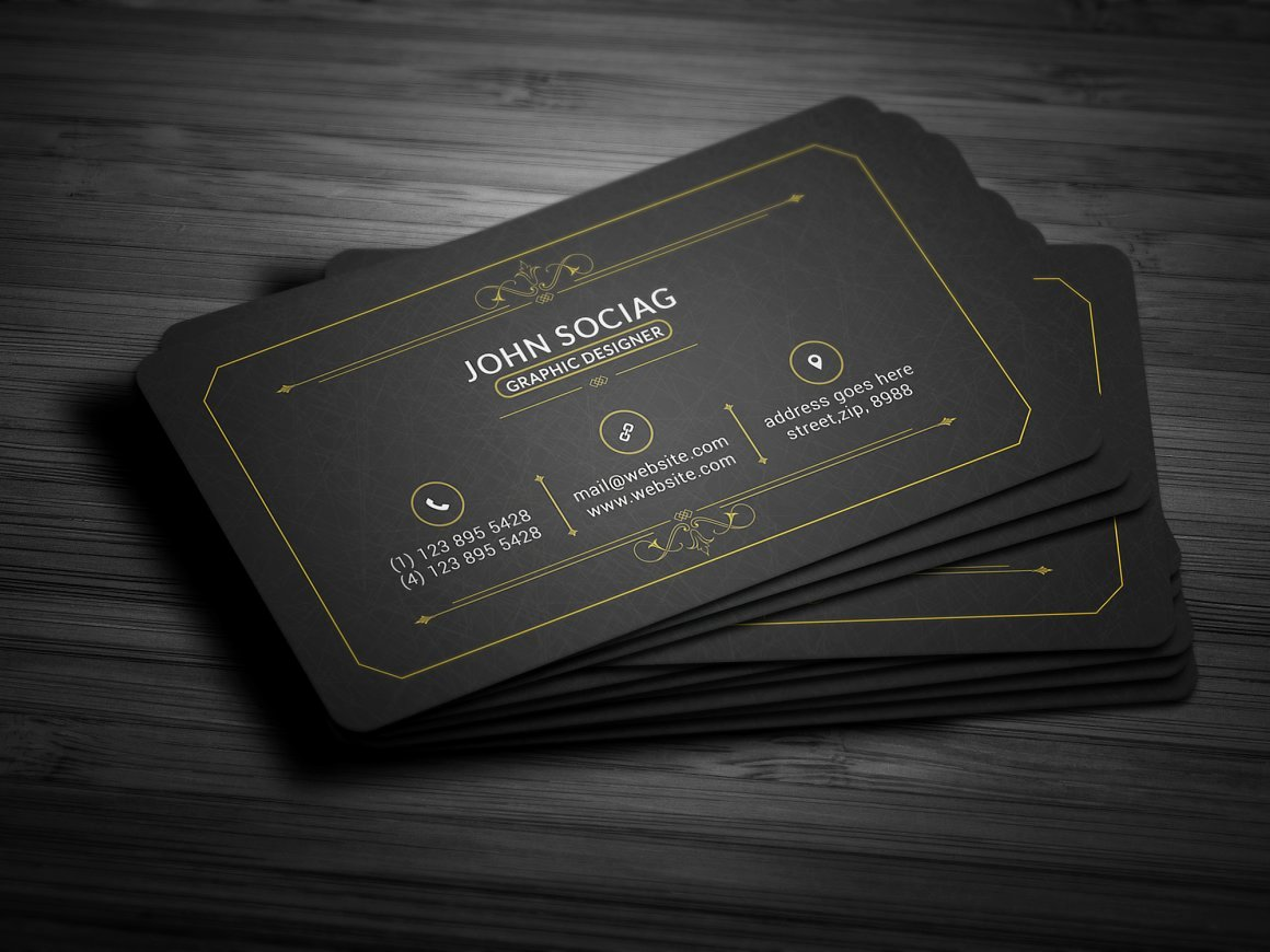 Black Business Card Template Unique 25 Black and Gold Business Card Templates