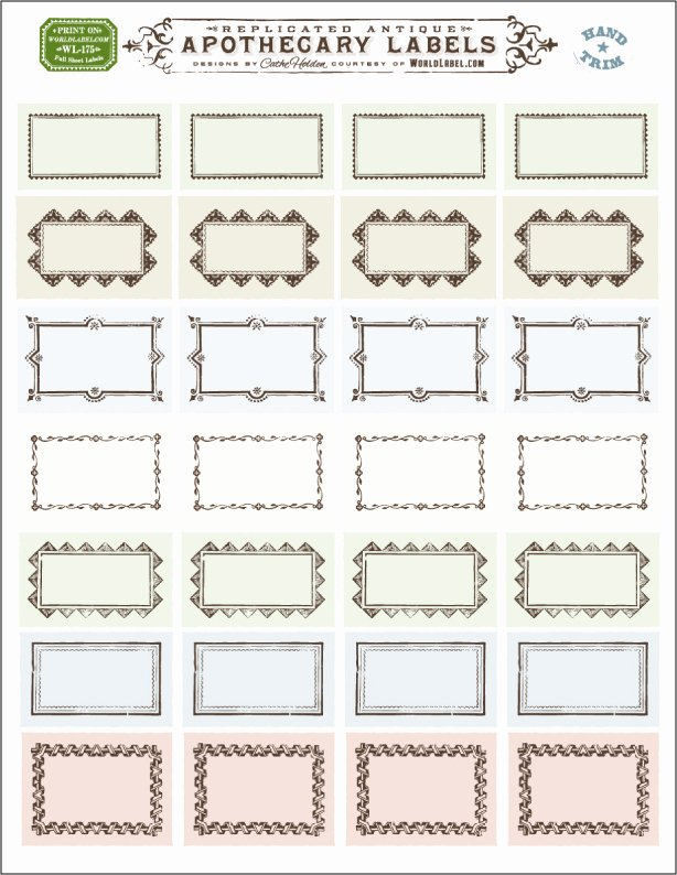 Blank Address Label Template Unique ornate Apothecary Blank Labels by Cathe Holden