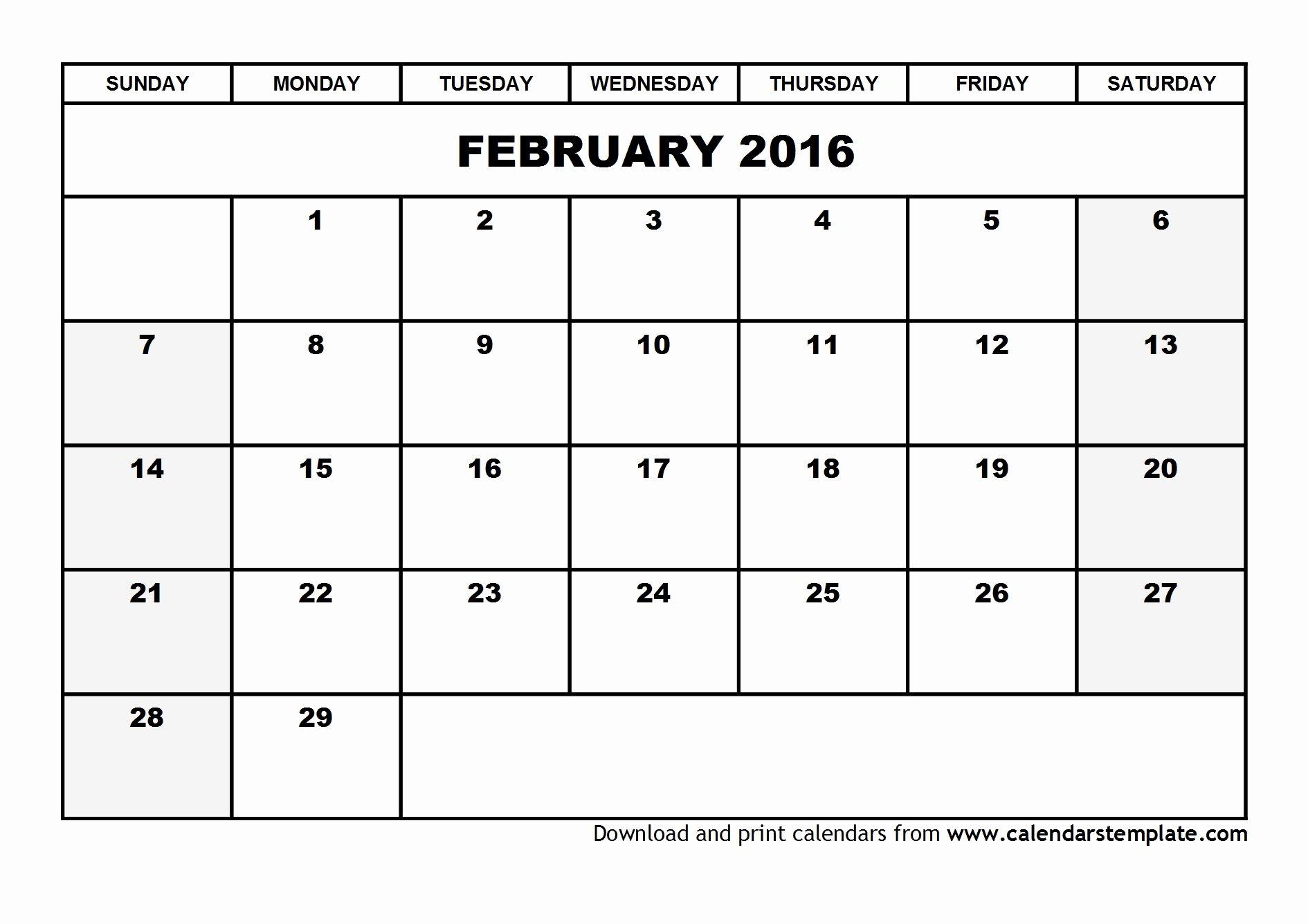 Blank Calendar Template 2016 Awesome February 2016 Calendar Template