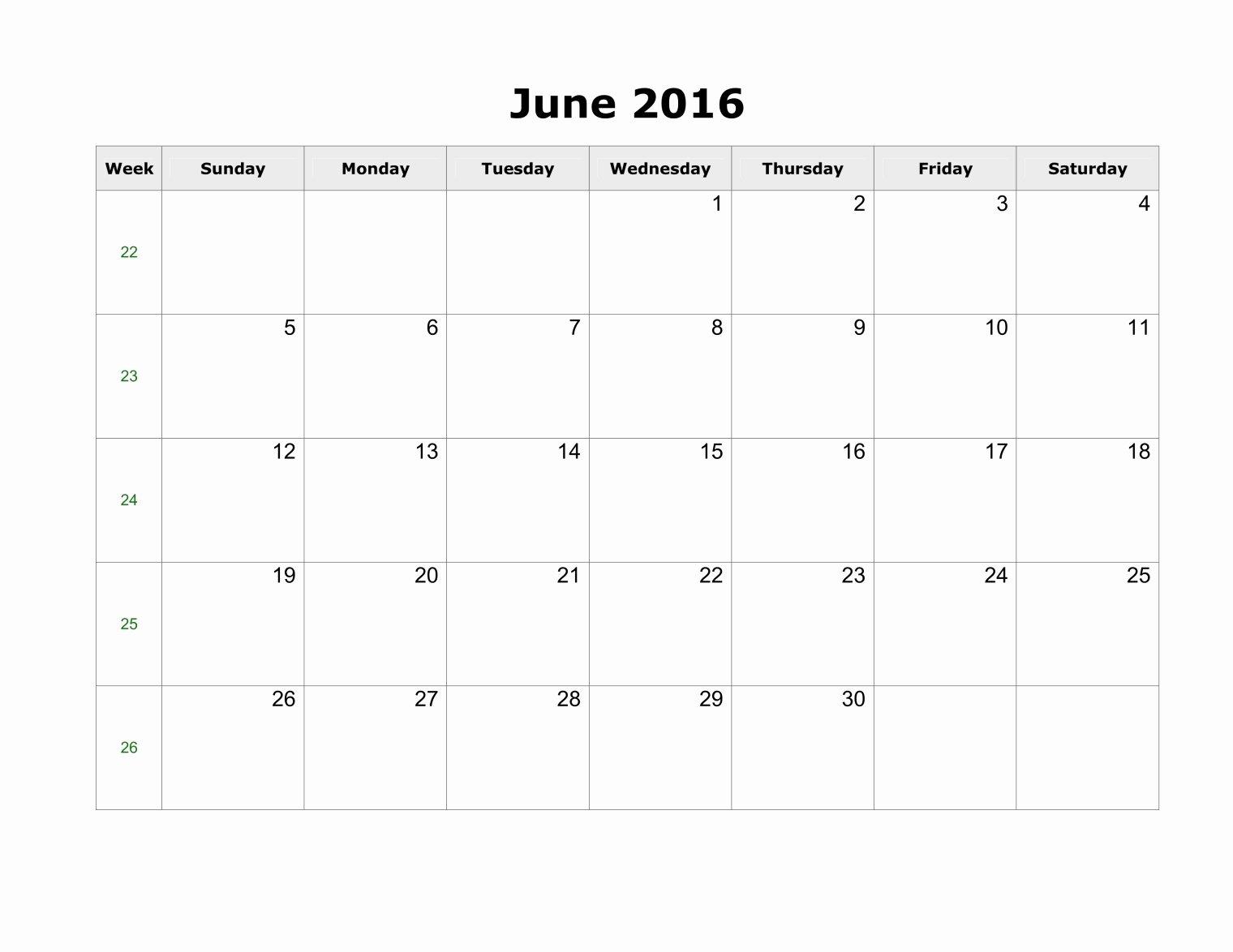 Blank Calendar Template 2016 Awesome June 2016 Printable Calendar Landscape A4 Portrait