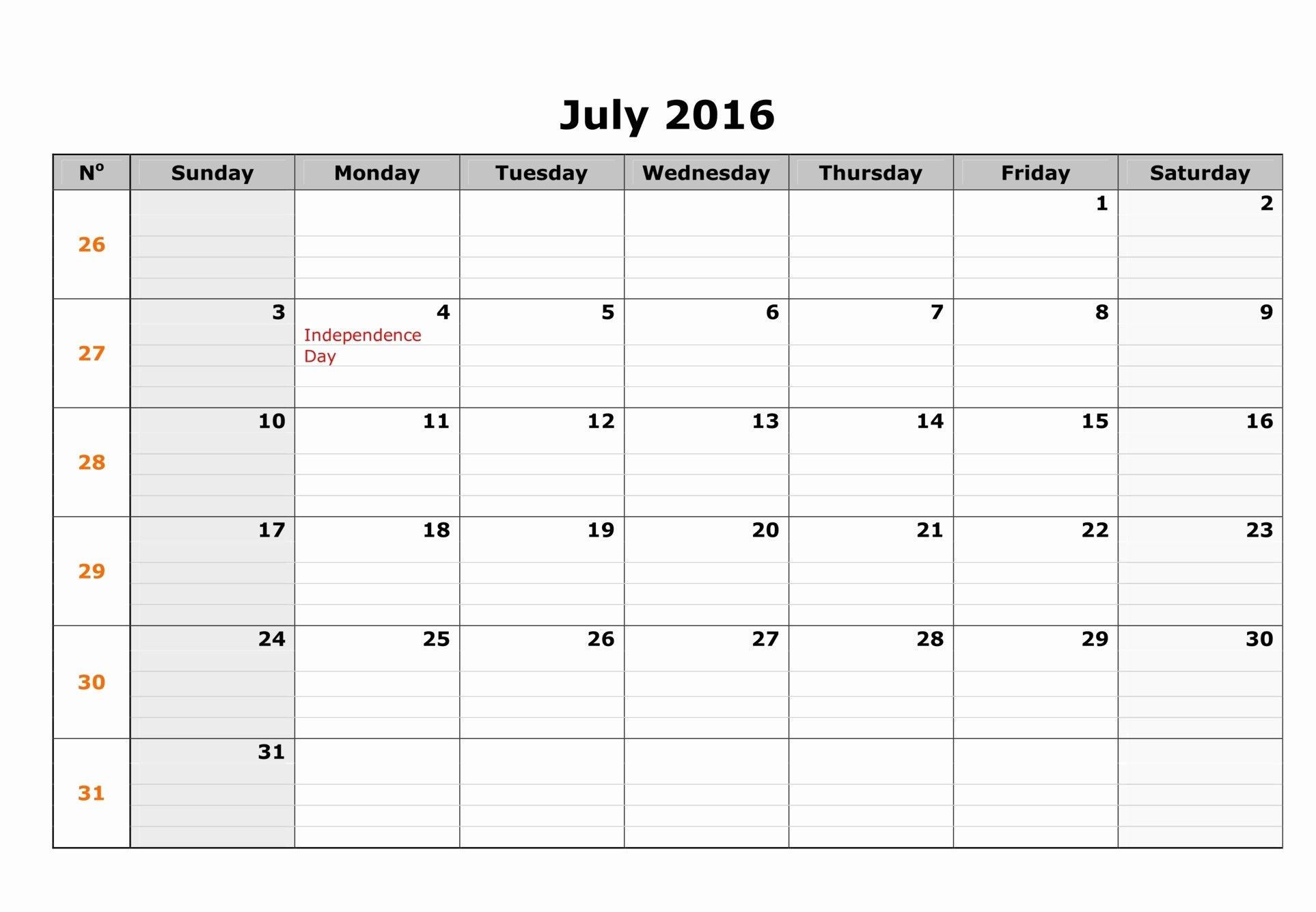 Blank Calendar Template 2016 Beautiful July 2016 Blank Weekly Templates