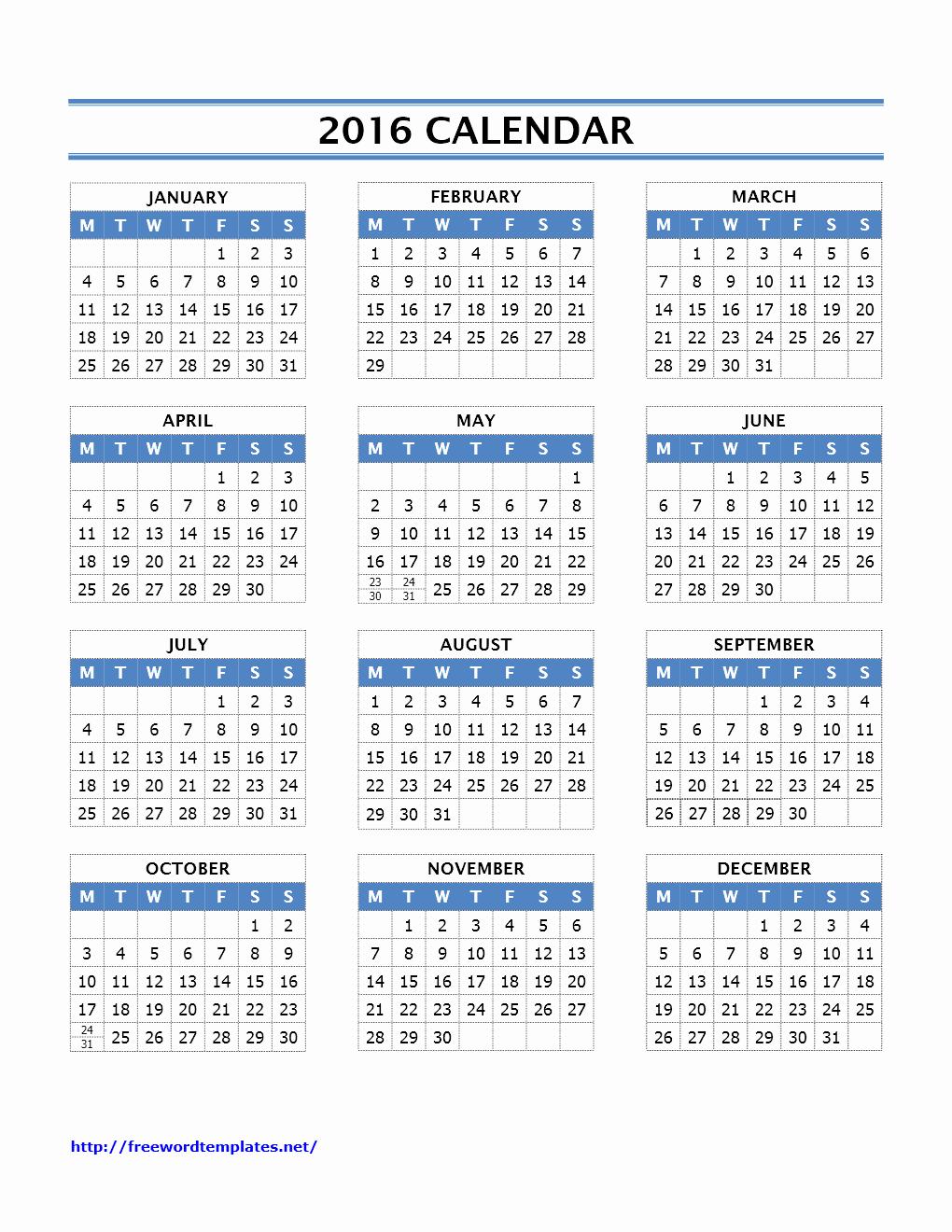 Blank Calendar Template 2016 Best Of 2016 Calendar Templates
