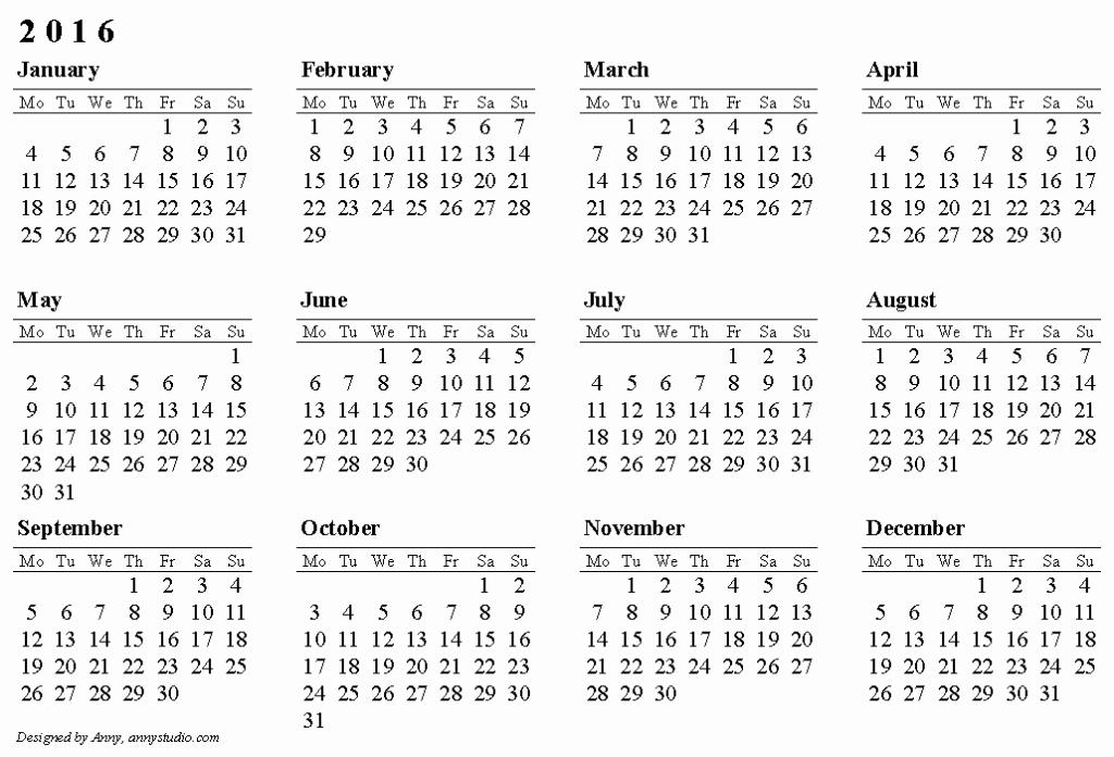 Blank Calendar Template 2016 Elegant Free Printable Calendars 2016