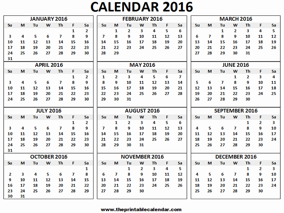 Blank Calendar Template 2016 Fresh 2016 Calendar Printable 12 Months Calendar On One Page