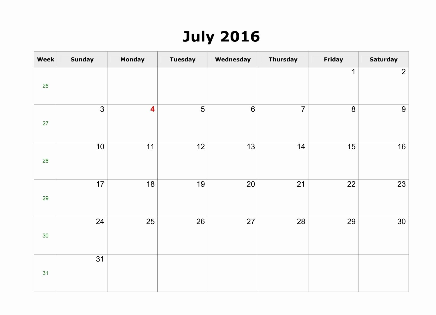 Blank Calendar Template 2016 Fresh July 2016 Calendar Landscape