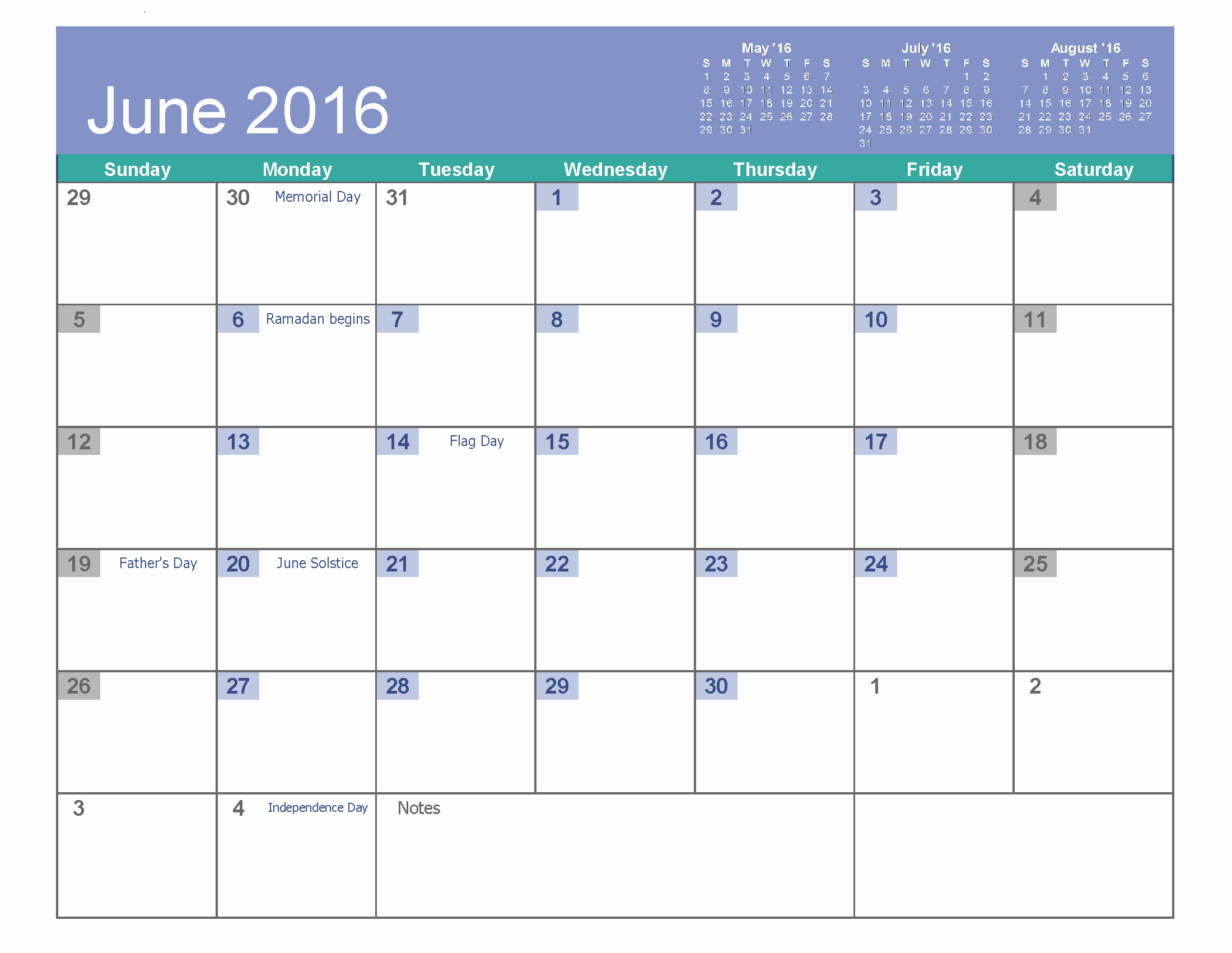 Blank Calendar Template 2016 Fresh June 2016 Printable Calendar Landscape A4 Portrait