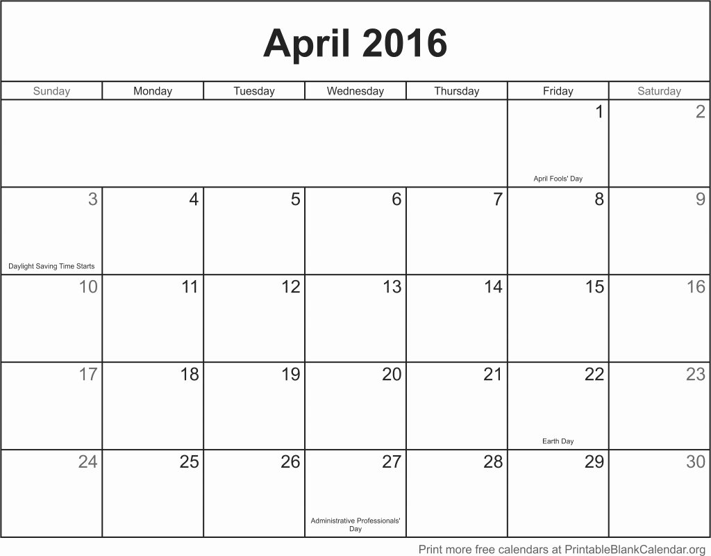 Blank Calendar Template 2016 Inspirational April 2016 Printable Blank Calendar Printable Blank
