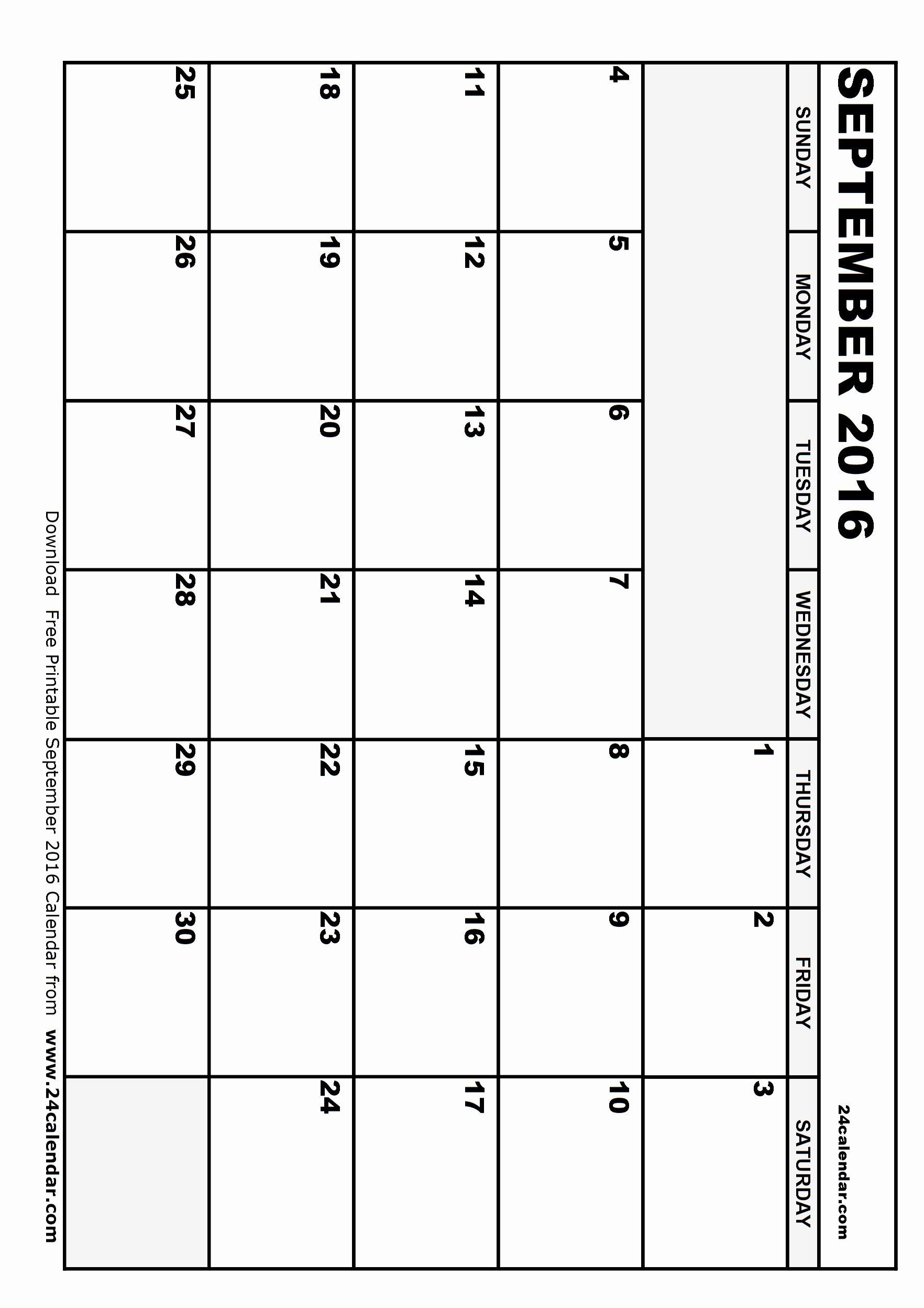 Blank Calendar Template 2016 Luxury Blank September 2016 Calendar In Printable format