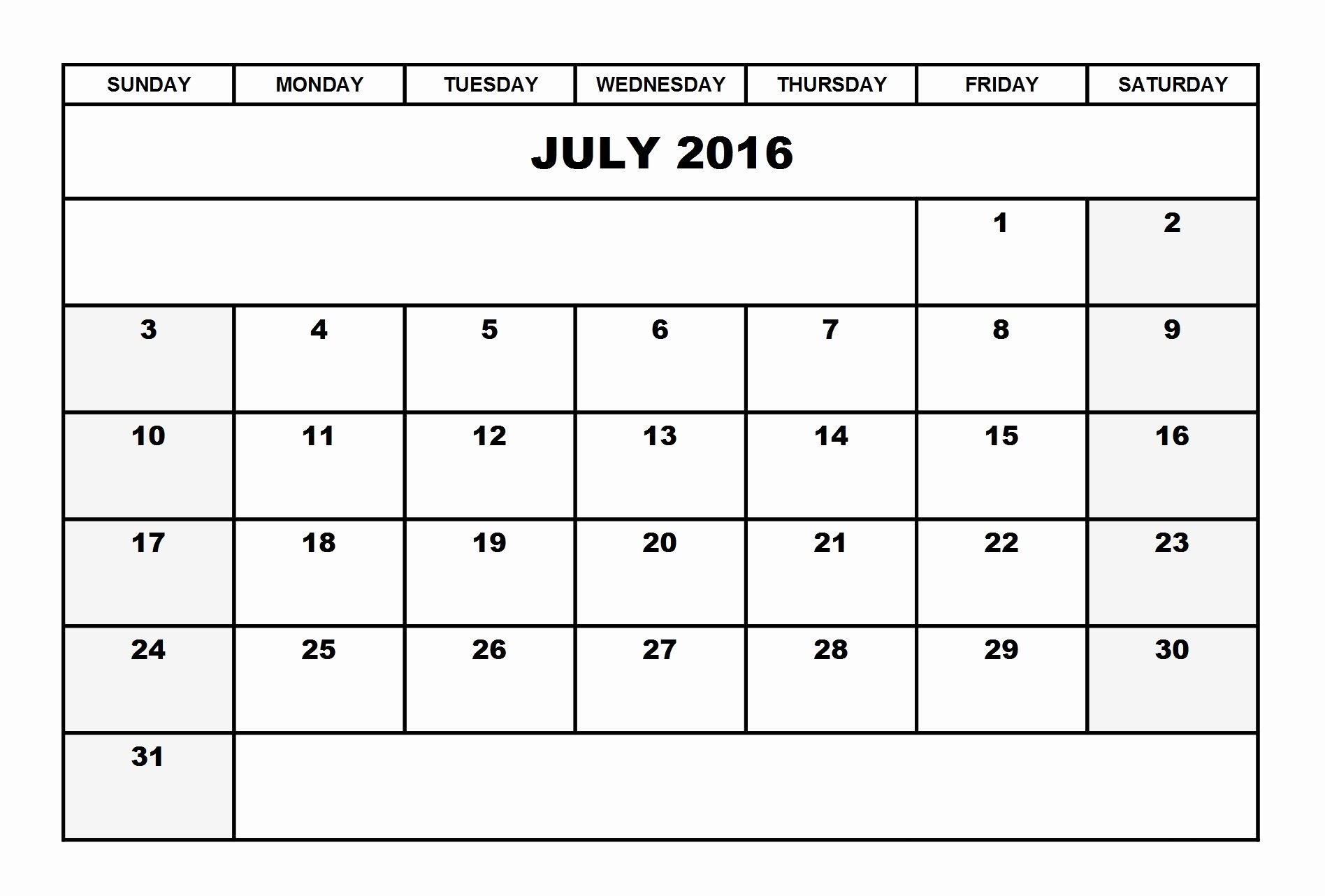 Blank Calendar Template 2016 Luxury July 2016 Calendar Landscape