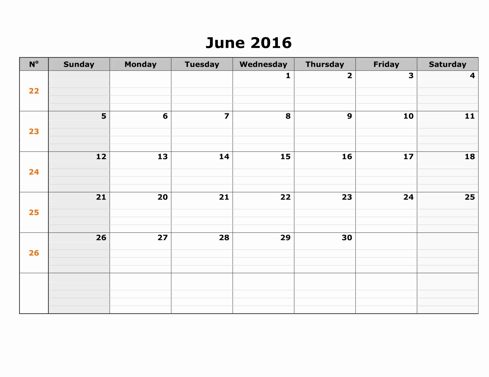 Blank Calendar Template 2016 Luxury June 2016 Weekly Calendar
