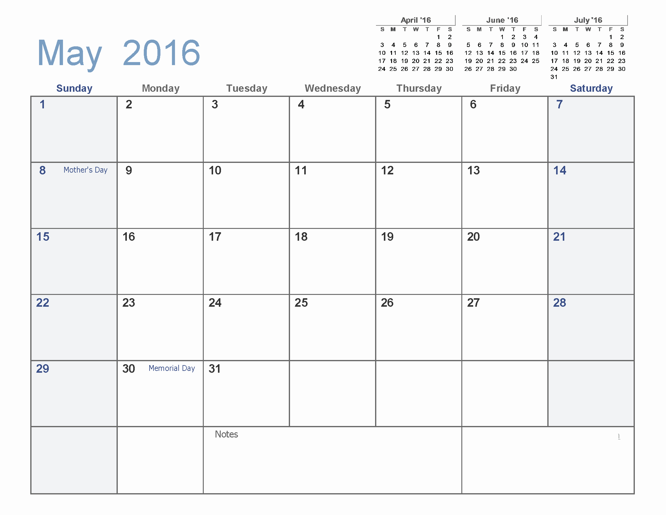 Blank Calendar Template 2016 Luxury May 2016 Blank Templates [pdf Word Excel]