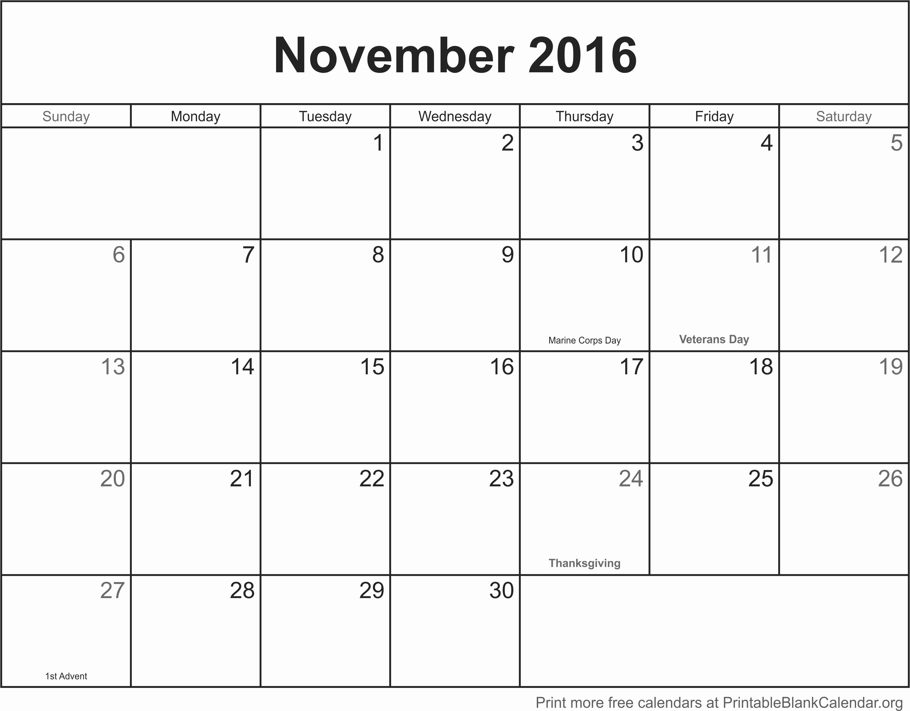 Blank Calendar Template 2016 Luxury November 2016 Printable Blank Calendar Printable Blank