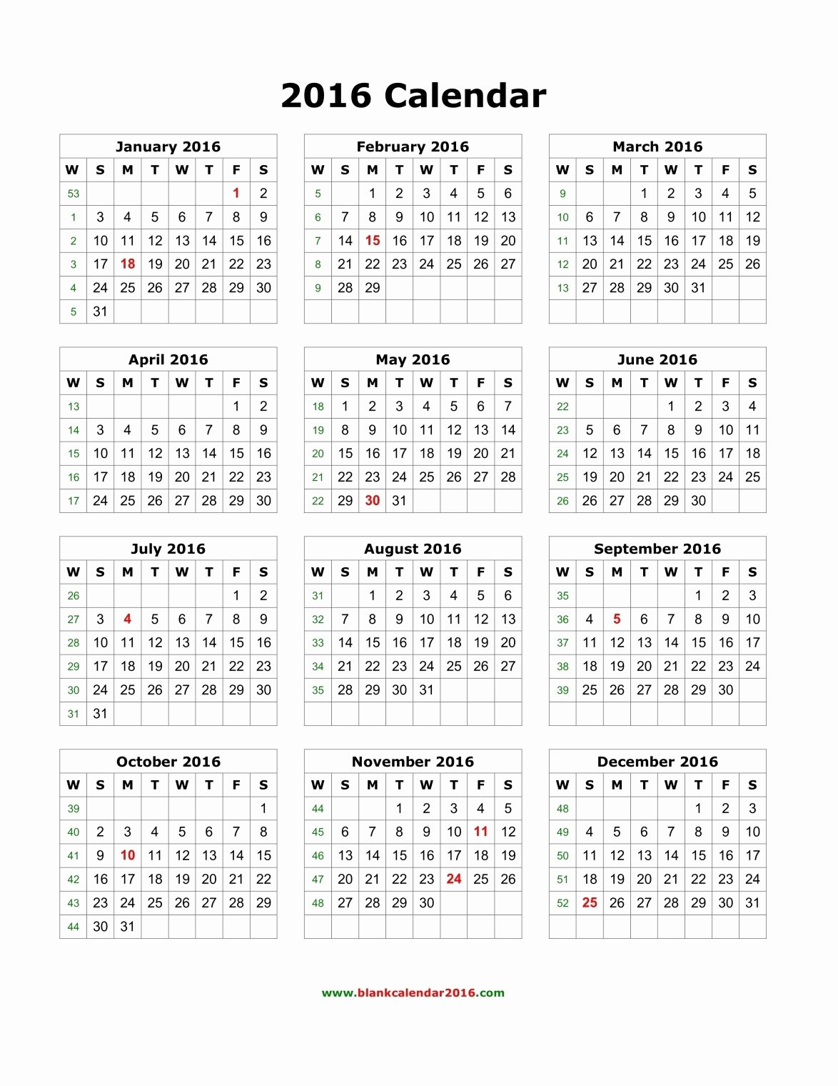 Blank Calendar Template 2016 New Yearly Calendar 2016 Template – Templates Free Printable