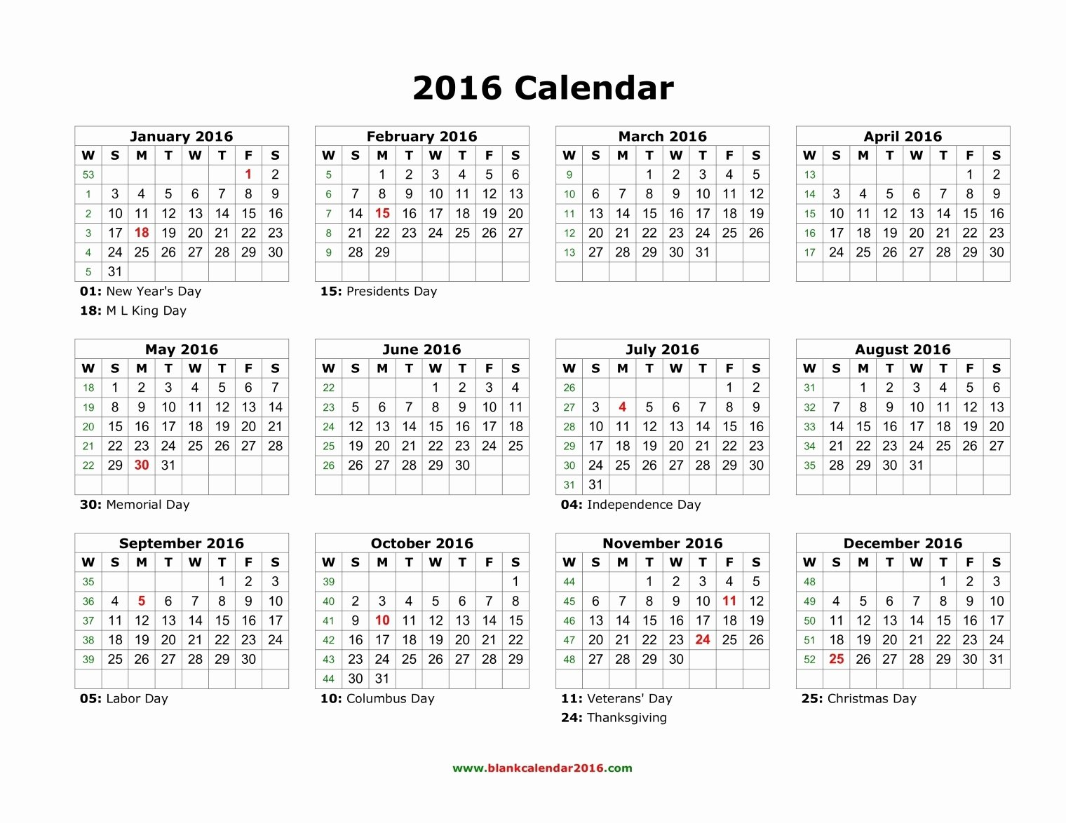 Blank Calendar Template 2016 Unique 2016 Yearly Calendar with Holidays Printable